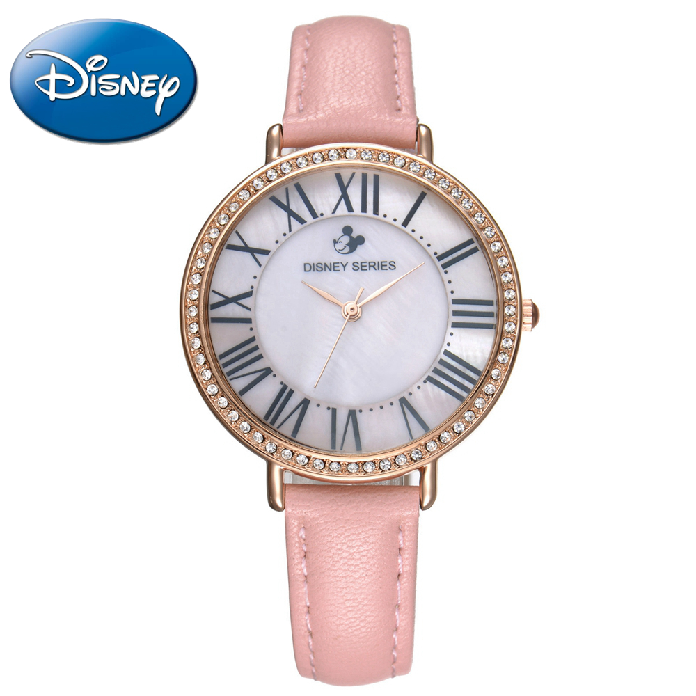Genuine Disney Roman Type Women Dress Best Quality Leather Antique Watches Girl Fashion Casual Quartz Watch Famous Hour Mickey