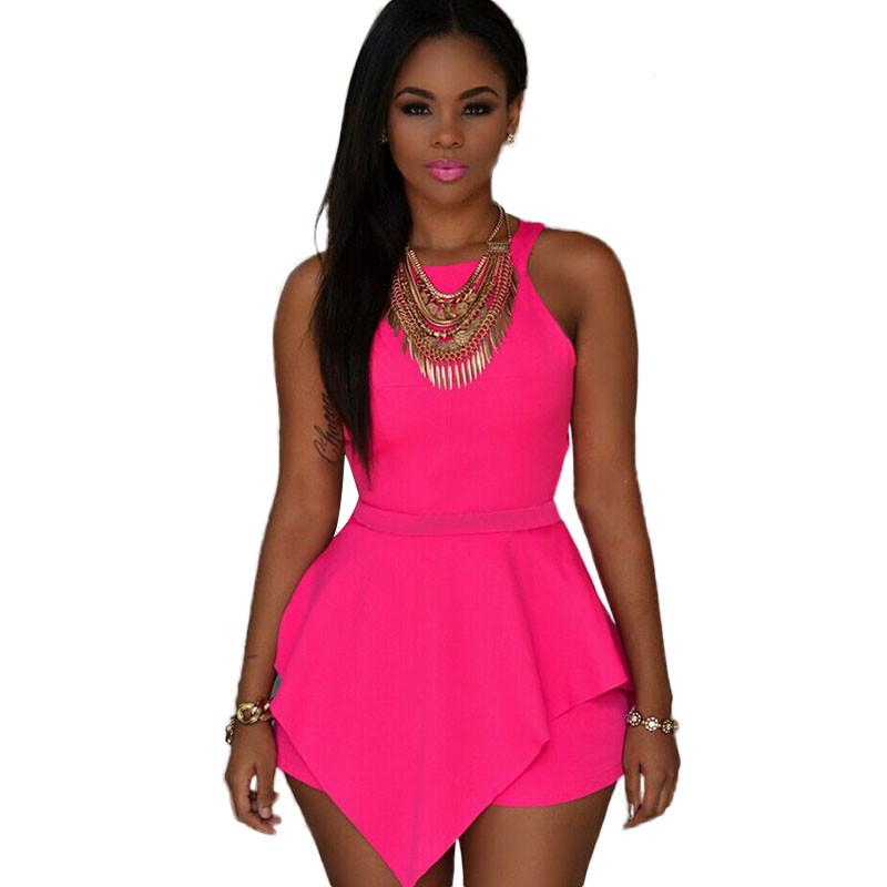 Pink-Sleeveless-Peplum-Romper-LC60547-1