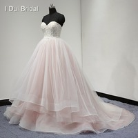 Fade Pink Ball Gown Wedding Dress Tiered Tulle Layer Sweetheart Lace Beaded 2017 New Style High Quality