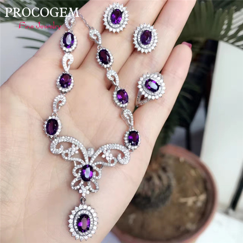 PROCOGEM Natural Amethyst fine Jewelry 4Pcs sets for Women Party gifts Necklace Ring Earrings Real gems 925 Sterling Silver #655PROCOGEM Natural Amethyst fine Jewelry 4Pcs sets for Women Party gifts Necklace Ring Earrings Real gems 925 Sterling Silver #655