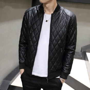 New Leather Jacket Men 2019 Fashion Stand Collar Male Parka Jacket Coat Mens Solid Thick Jackets And Coats Men Slim Parkas M-3XL цена 2017