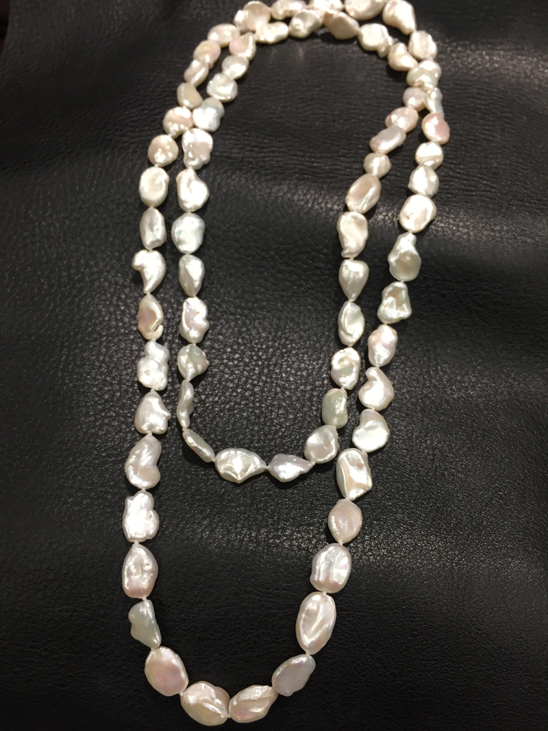 white baroque Long fresh water pearl necklace real pearl 120CM irregular fashion women jewelry