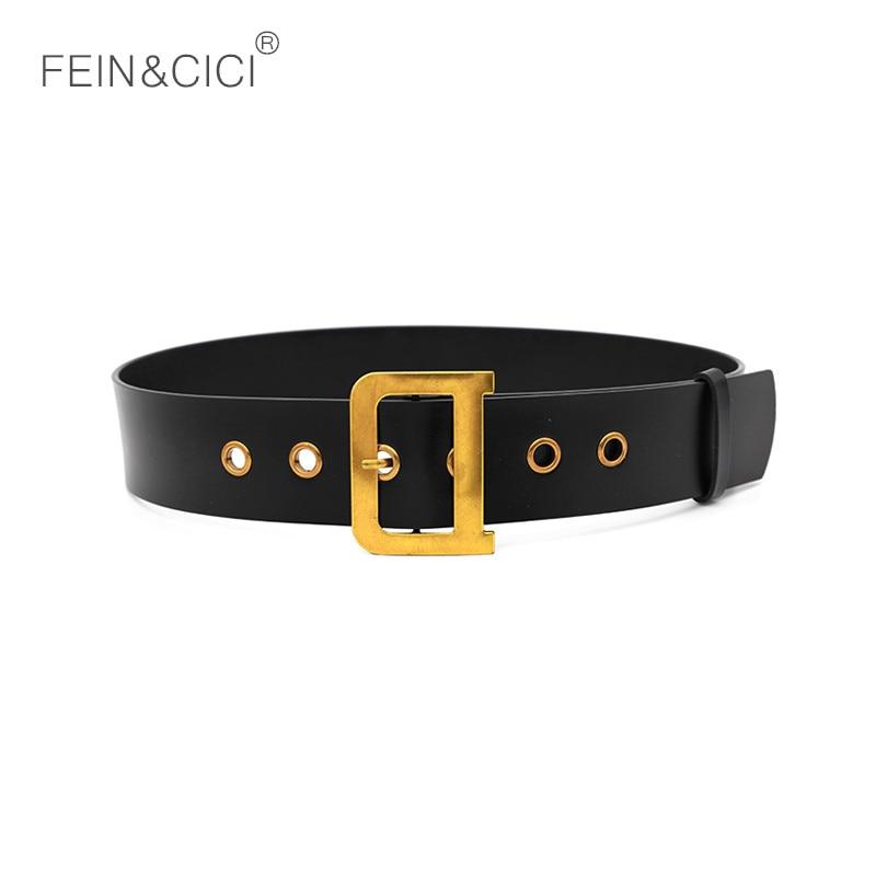 100% Genuine Leather Belts Luxury Designer Metal D Buckle Belt Women Girls Retro Vintage Large Belt For Jeans Black White Red