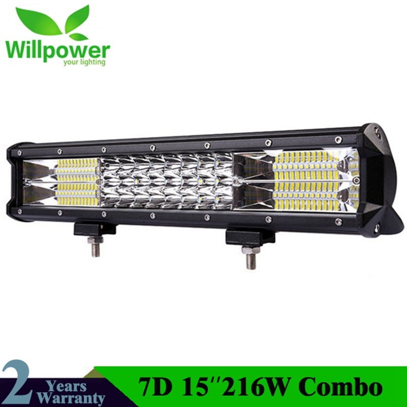 15'' 7D 216w 3 Row LED Light Bar For Offroad Combo 4x4 4WD Atv UTV Suv Driving Motorcycle Light Truck Led Work Lights Auto Lamp club style one shoulder black long beaded sleeve dress for women