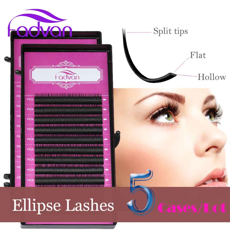 Fadvan Flat Eyelash Extensions Individual Korean Quality Silk Ellipse Eye Lashes for Building Makeup Accessories 5 Cases/Lot