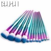 Gujhui Makeup Brush Rainbow Makeup Brushes Set 12pcs Rhinestone Tools Pro Powder Foundation Eye Lip Concealer