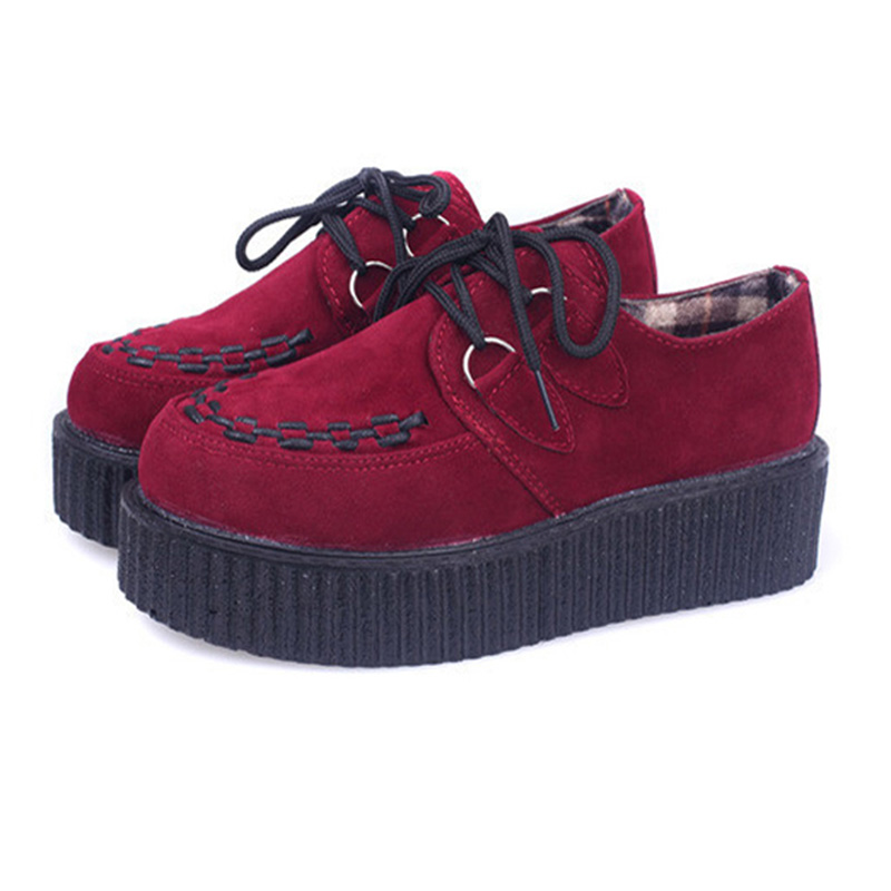 Quanzixuan Women Creepers Fashion Flat Platform Shoes Women Casual EVA Soles Lace-up Shoes beffery 2018 british style patent leather flat shoes fashion thick bottom platform shoes for women lace up casual shoes a18a309