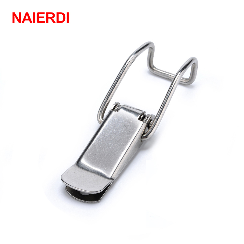 NAIERDI J115B Mild Steel Cabinet Boxes Hasp Lock 74*20 Spring Loaded Latch Catch Toggle Locks For Sliding Door Window Hardware dks 5 zinc alloy toggle latch lock dk604 hasp cabinet hasp toggle latch lock bright chrome black with without key 1 pc
