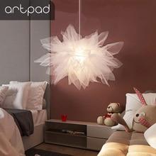 Romantic Fantasy White Lace Pendat Lights Led Cotton Yarn Hanging Pendant Lamp for Children room decoration Living Room Lighting