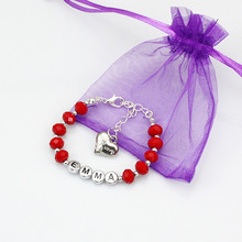 New Girls Kid Red Crystal Bracelets Any Name Birthday Charm Personalised Gift