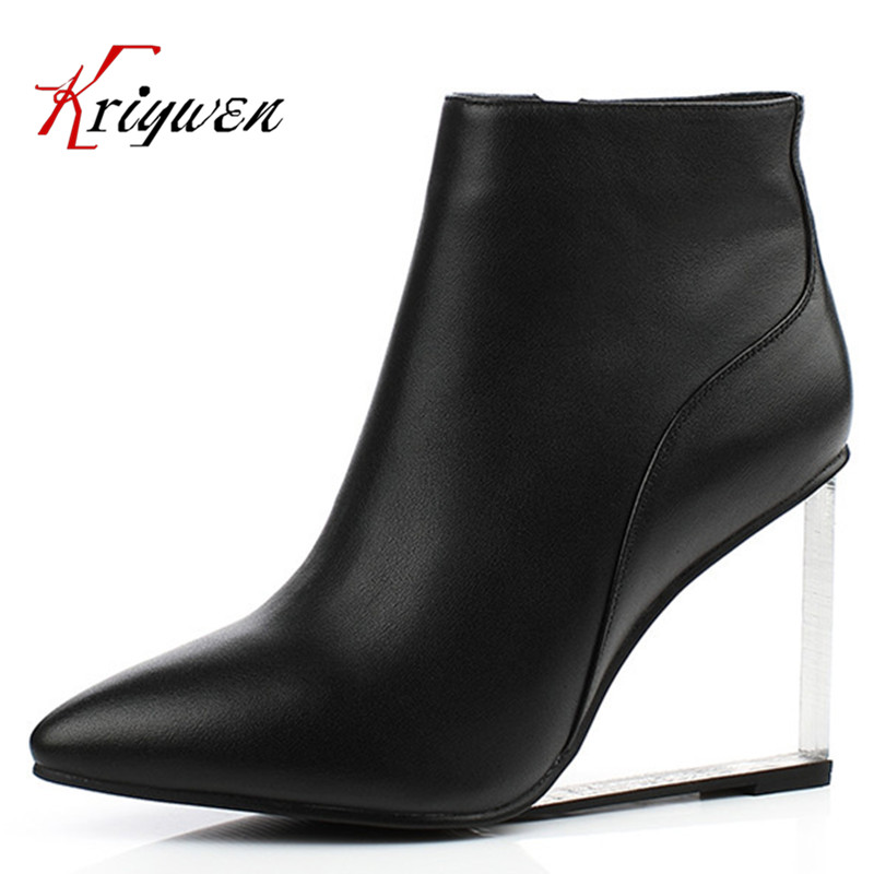 Big size 33-41 cowhide leather High heel Fashion pointed toe motorcycle boots Ankle boots women zipper genuine leather lady shoe 2018 new arrival fashion winter shoe genuine leather pointed toe high heel handmade party runway zipper women mid calf boots l11