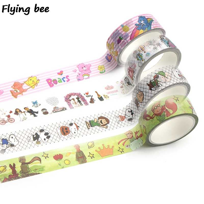 Flyingbee 4 styles 15mmX5m Cartoon Cute Bare Bears Washi Tape Paper DIY Decorative Adhesive Tape Kawaii Dogs Masking Tapes X0277