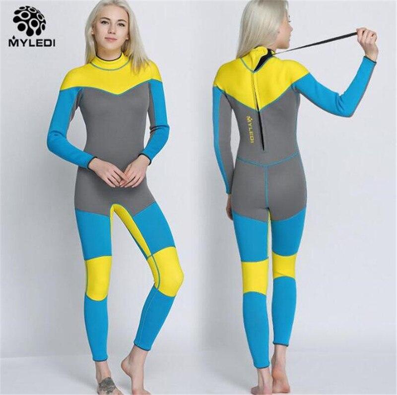 MYLEGEND 3mm Neoprene Surfing Spearfishing Diving Suit women Wetsuits With Long Sleeve Swimwear Scuba One Piece