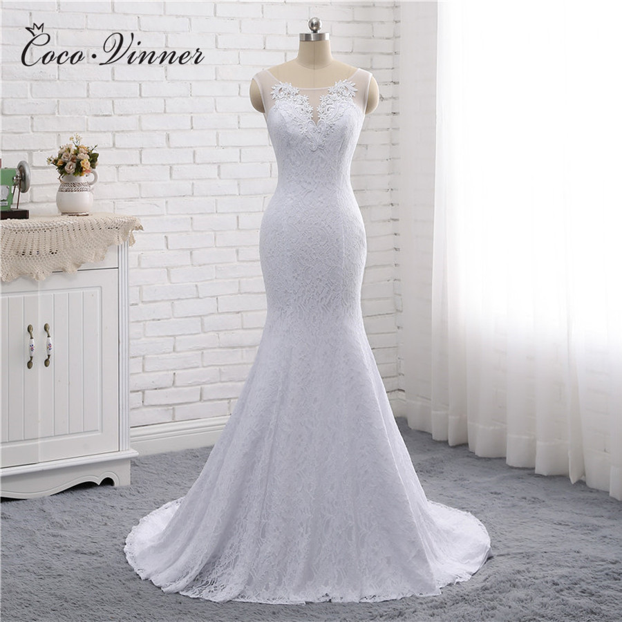 Vintage Lace Mermaid Wedding Dress Simple Design Double Shoulder Sleeveless V Neck Pure White Bride Wedding Dresses W0193