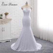 Encaje Vintage vestido de novia de sirena de diseño Simple doble hombro sin mangas cuello pico blanco puro vestidos de novia de boda W0193