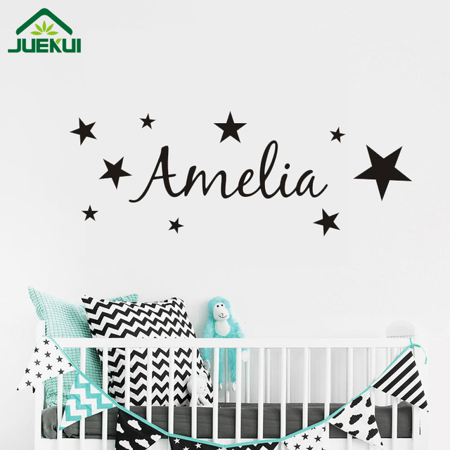 Personalized Name Wall Sticker DIY Stars Boys and Girls Art Wallpaper for Kids Rooms Playroom Decoration Vinyl JA679