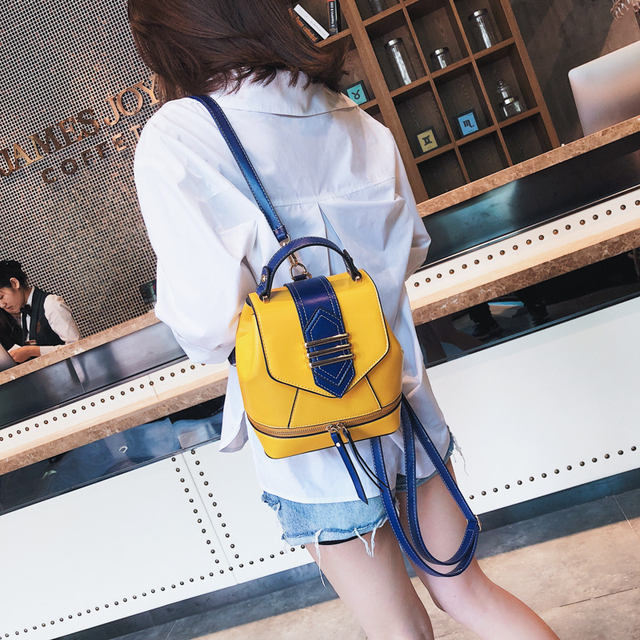Famous Brand Backpacks Bag Women Backpacks Fashion Patchwork Ladies Backpack High Quality PU Leather Teeanger School Bags 2019