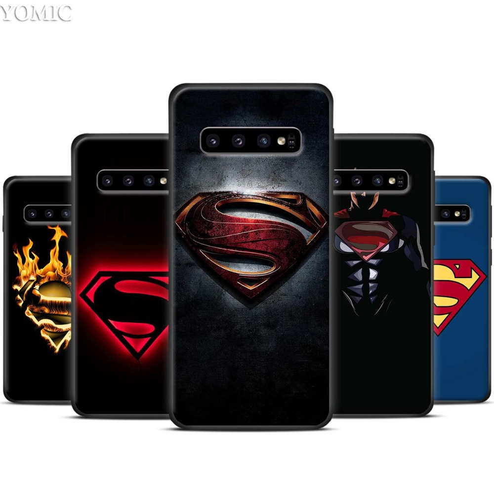 <font><b>Marvel</b></font> superman <font><b>Logo</b></font> Black Silicone <font><b>Case</b></font> for <font><b>Samsung</b></font> <font><b>Galaxy</b></font> S10 S10e S8 S9 Plus S7 A40 A50 A70 Note 8 9 10 Soft Cover <font><b>Case</b></font> image