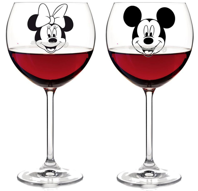14pcs/set Minnie & Mickey mouse Wine glass jar box Stickers Vinyl Removable Kitchen Wall tile Stickers Birthday Art Decor EA671