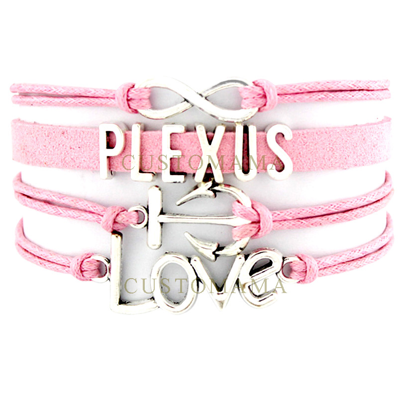 (10 PCS/Lot) Infinity Love Plexus Love Charm Bracelets For Women Men Pink Wrap Bracelet Custom Jewelry Dropshipping
