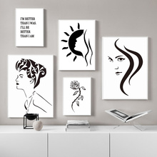 Minimalist Black Beauty Canvas Prints And White Painting For Living Room Abstract Quotes Wall Pictures Unframed