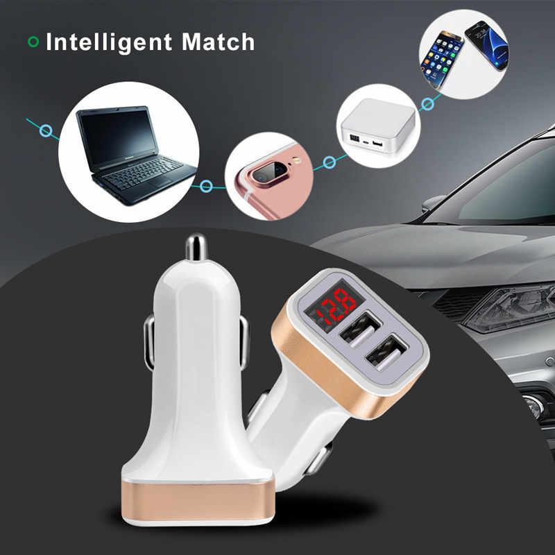 المزدوج 2 USB شاحن سيارة LED 5 V/2.1A شاشة ديجيتال ل iphone Xiaomi سامسونج سريع محول للشحن كابل يو اس بي شواحن الهاتف المحمول