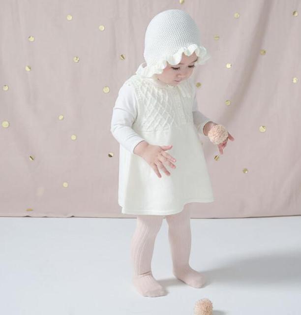 Hohe Qualität Kleinkind Mädchen Baumwolle Strickkleid Bebes Kinder