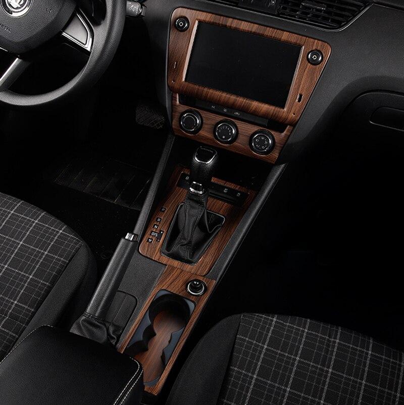 Peach wood pattern for Skoda Octavia 2015 2019 Octavia wagon 2017 2019 Interior decoration Gear Glass