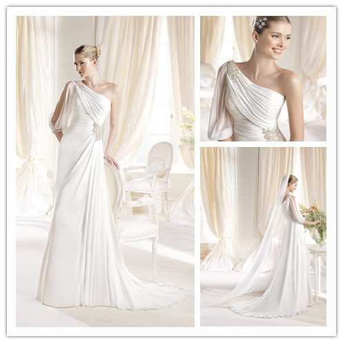 GownLSW-006 Designer long one shoulder grecian style wedding dresses  chiffon beach wedding dress 2014 44699fba973c