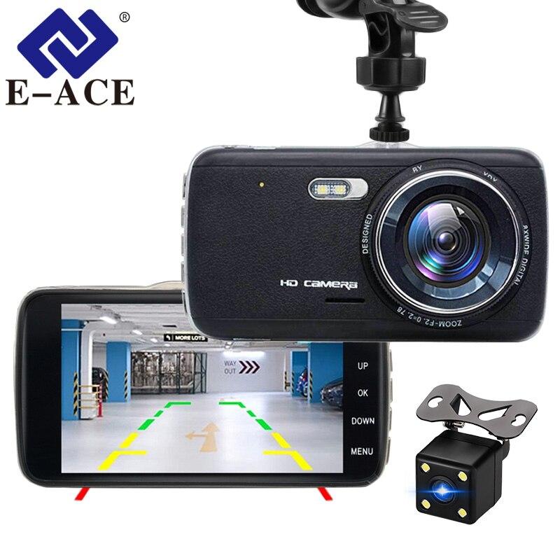 E-ACE Автомобильный dvr камера Dashcam двойной объектив с LDWS ADAS зеркало заднего вида автомобиля расстояние Предупреждение FHD 1080P ночное видение А