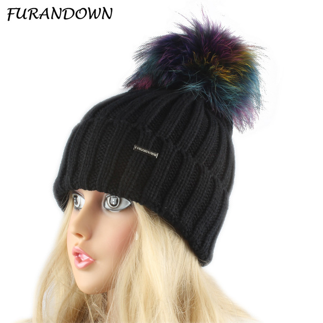 multi colored Pom Pom Beanie Hat Women Thick Knit Cap Winter Skullies  Beanies For Ladies Warm Hat 7ada38a3356