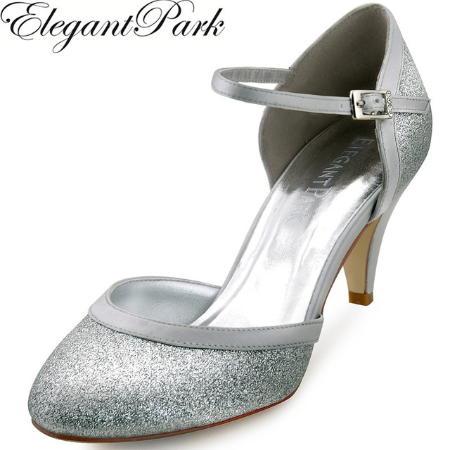 Woman Silver Round Toe Buckle Glitter Mid Heel Bride Bridesmaid Wedding  Bridal Shoes Lady Party Prom