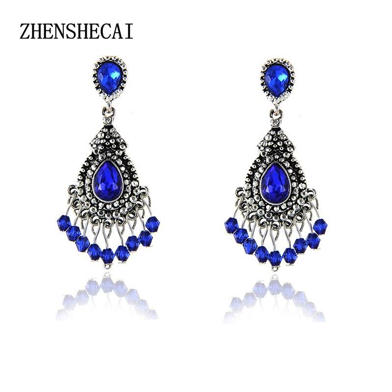 Синий/серебряный цвет Люстра хрустальные длинные серьги для женщин свисающие серьги со стразами Свадебные украшения e0231