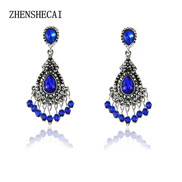 Bluesilver color chandelier crystal long earrings for women bluesilver color chandelier crystal long earrings for women rhinestone hanging earrings bridal wedding jewelry aloadofball Gallery