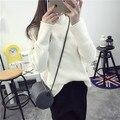 Девочки-подростки свитер зима топ с длинным рукавом трикотажные водолазки белый черный 2016