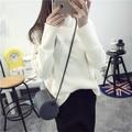 Adolescente meninas camisola de inverno top de manga comprida de gola alta de malha branco preto 2016