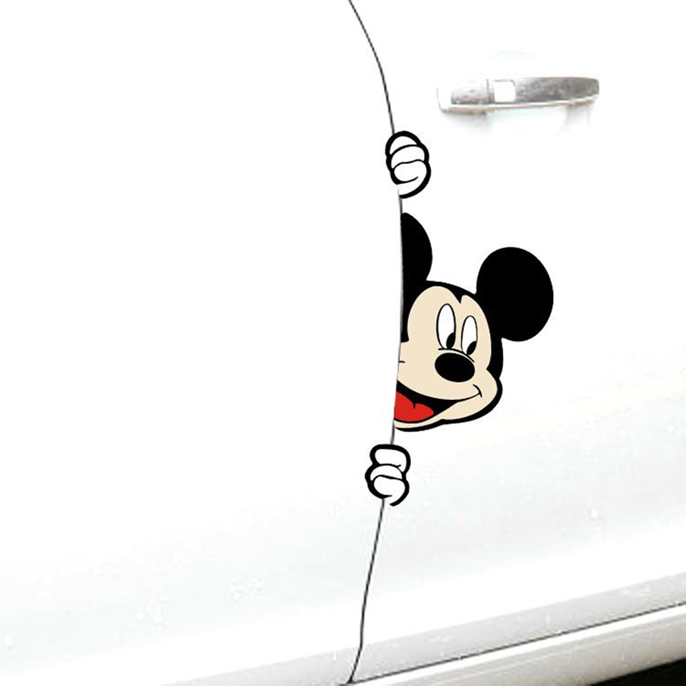 Car-styling Cartoon Mickey Mouse Peeking Car Side Door Sticker and Decal for Volkswagen Polo Golf Skoda Ford Focus Kia Opel Рюкзак