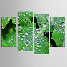4 pieces / set of green leaf drops Print Painting Modern Picture Canvas Wall Art for Living Room Home Decoration Artwork