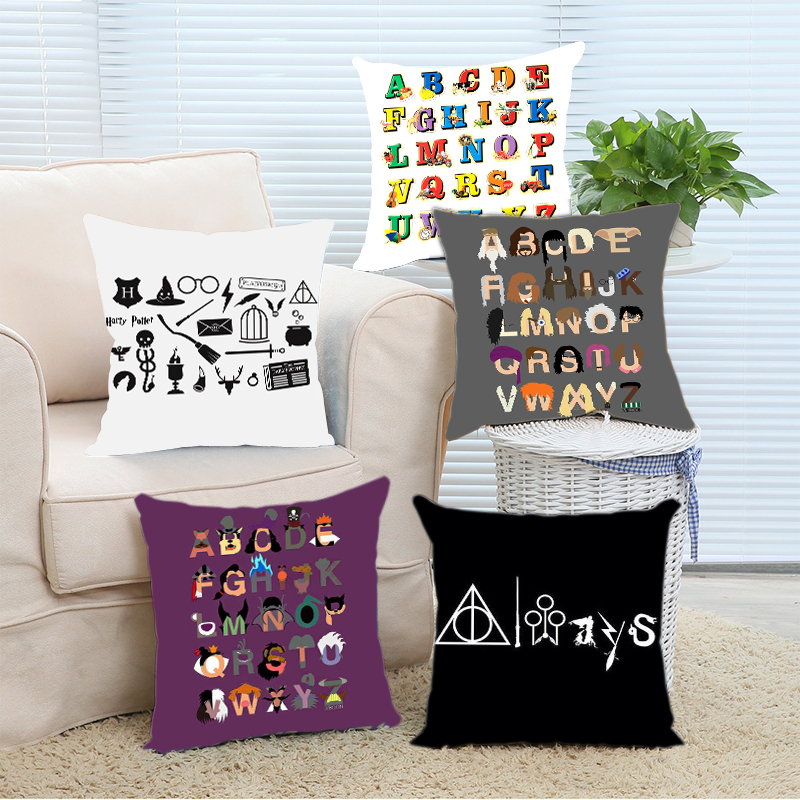 Hot Selling One Piece Funny Harry Potter Alphabet Pillow Cover Home Decorative Throw Pillowcase Zippered Twin Sides Printing