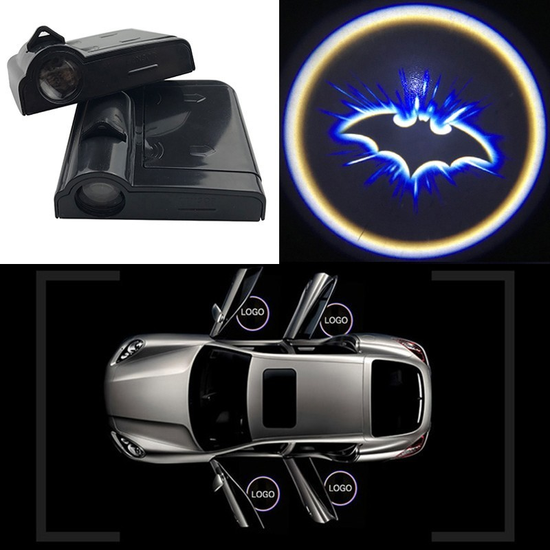 2pcs Wireless Led Car Door Welcome Light Laser Projector Batman Logo Ghost Shadow Light for Volkswagen Ford BMW Honda Audi Kia