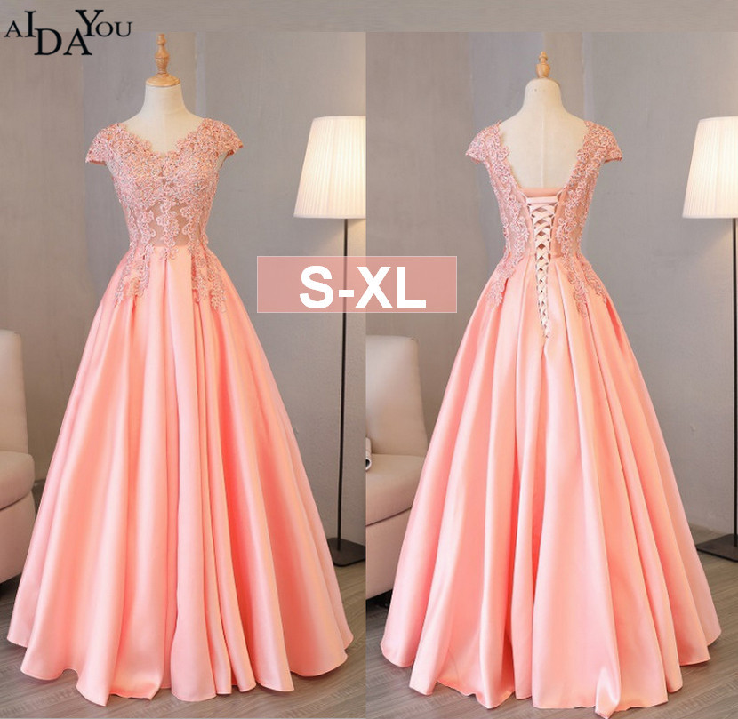 Evening Women Lace Dresses Long For Banquet A Line V Neck Female Lace Up Back Slim Luxury Backless Dress Pink Sequin Ouc1651