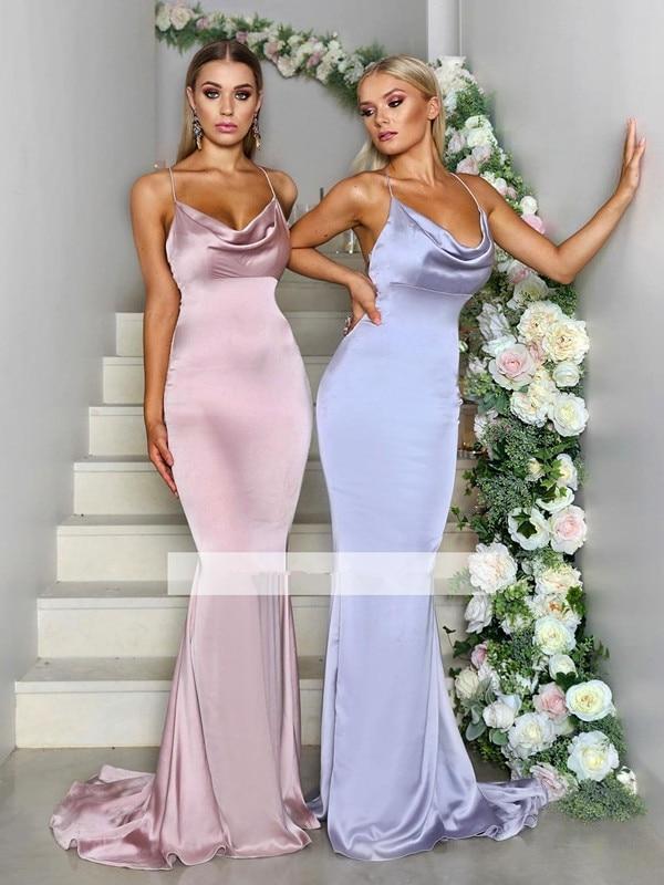 Cheap Bridesmaid Dresses Under 50 Mermaid Spaghetti Straps Long Wedding Party Dresses For Women