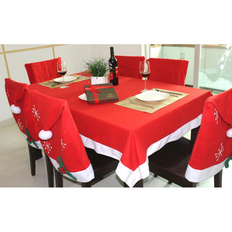 128x184cm Merry Christmas Red Table Cover Red Hat Chair Back Cover Christmas Decorations for Home Noel Natal New Year Decoration