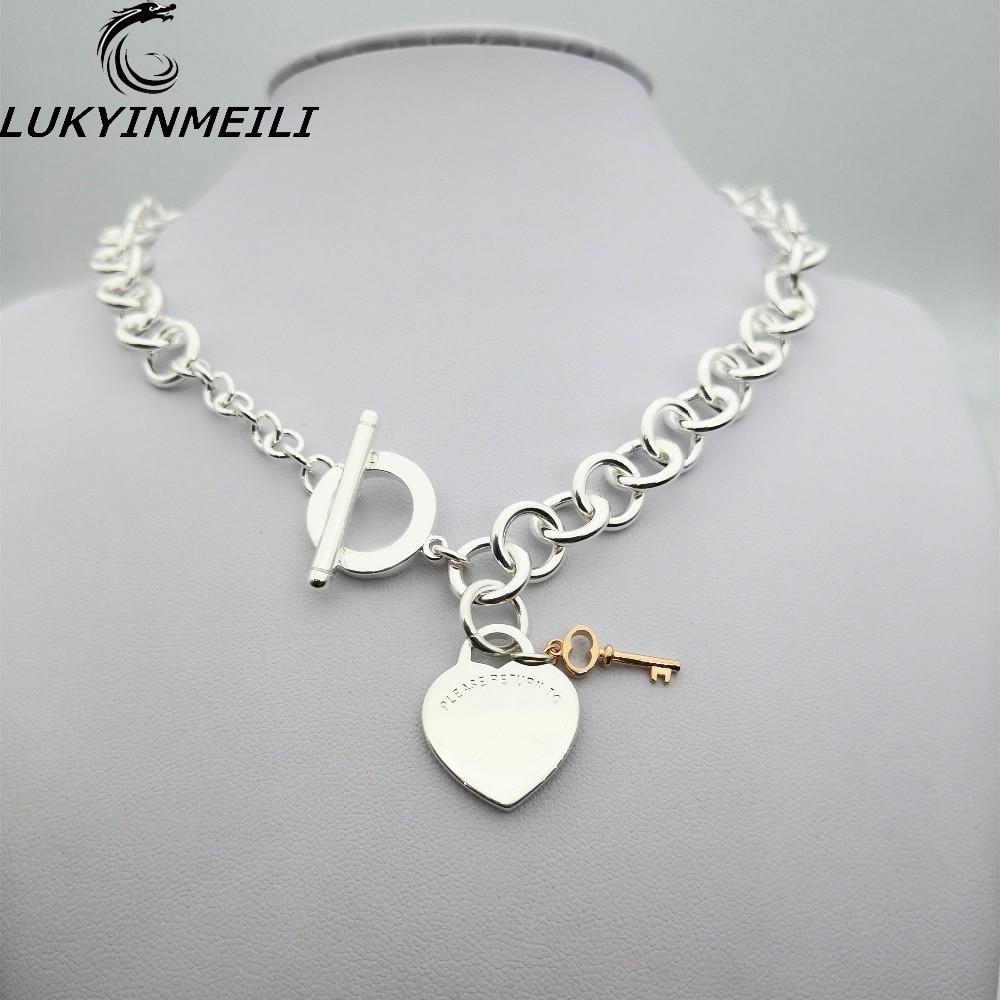 TIFF 1:1 925 sterling argent dames collier pendentif bijoux classique logo rond clé en forme de coeur Européen et Américain style