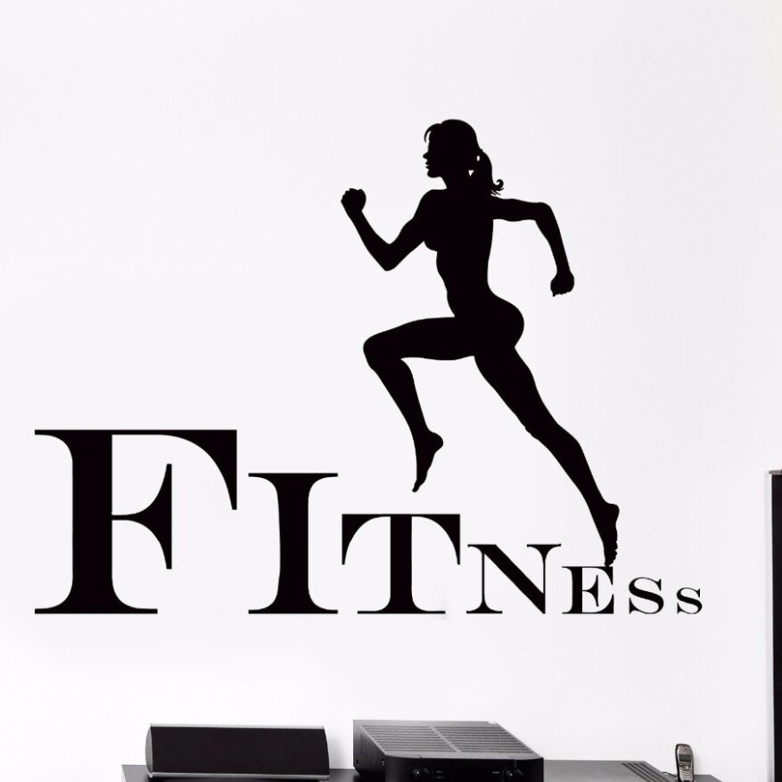 Wall Sticker Removable Running Sport Vinyl Decal Jogging Fitness Gym Step Cool Art Mural AY510