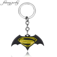 feimeng jewelry Avengers Super Hero Superman Batman Keychain Black Bat S Logo Metal Keyring For Men Fashion Car Key Chain(China)