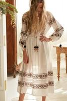 Women's elastic waist bohemian dress embroidery tassels long dress lantern sleeve boho chic dress ethnic festival robe vestidos