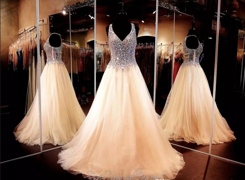 Champagne Ball Gown-Crystals V-neck   Prom     Dresses   See Through Pageant   Dresses   Soft Tulle New Arrival Evening Gown 2018