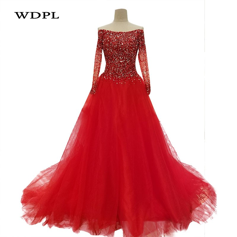 Robes De soirée arabes à manches longues robes De soirée perlées Vestido De Festa Robe De soirée élégante une ligne Robe De soirée
