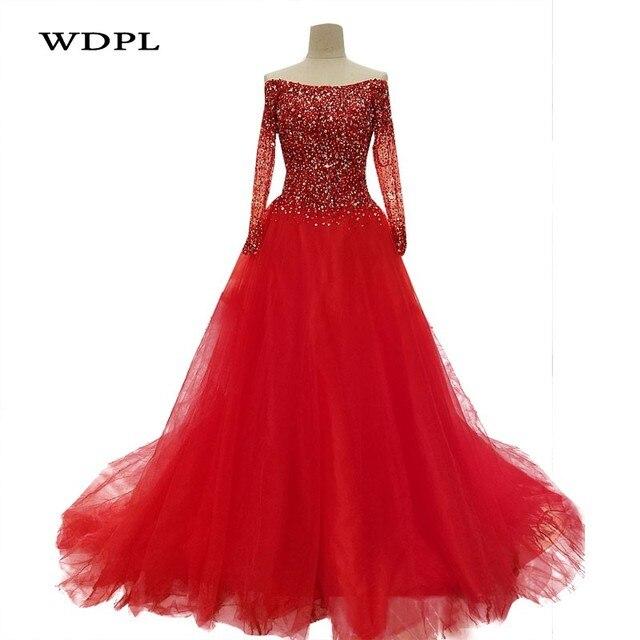 שמלות ערב ערב עם שרוולים ארוכים חרוזים כותנות Vestido De Festa ערב שמלת קו אלגנטי Robe De Soiree